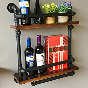 Iron Pipe &Wood Industry Rustic Wall Mounted Wine Rack Liquor Bottle Holder Bracket , Shelf Storage Shelves Bookshelf