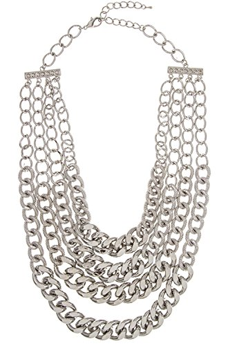 GlitZ Finery Chunky Multi Strand Mix Textured Chain Necklace Set (Rhodium)