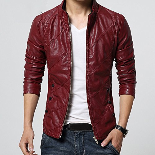 Leather Diagonal Zipper Biker Fashion Men's Coat Men Warm Autumn Tomatoa Jacket Motorcycle Leather Zipper Locomotive Red Winter Jacket Outwear naqw86B