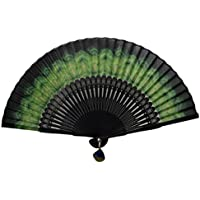 TANG DYNASTY(TM) Japanese Silks Hand Fan With Peacock Feather Handheld Fan Jhf-186