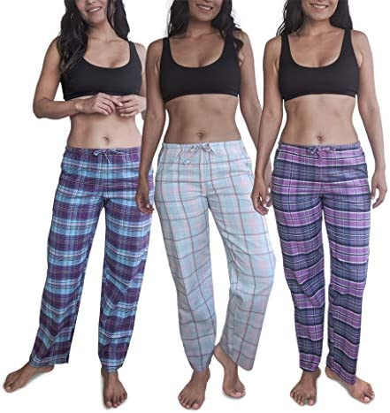 Sexy Basics Women's Lounge & Sleep PJ Pants/Soft Flannel Cotton Brush Long Pants - 3 Pack