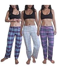 Sexy Basics Women's Lounge & Sleep PJ Pants/Soft Flannel Cotton Brush Long Pants - 3 Pack