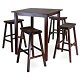 Winsome Wood Parkland 5-Piece Square High/Pub Table Set in Antique Walnut Finish
