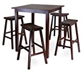 High Kitchen Table Winsome's Parkland 5-Piece Square High/Pub Table Set in Antique Walnut Finish