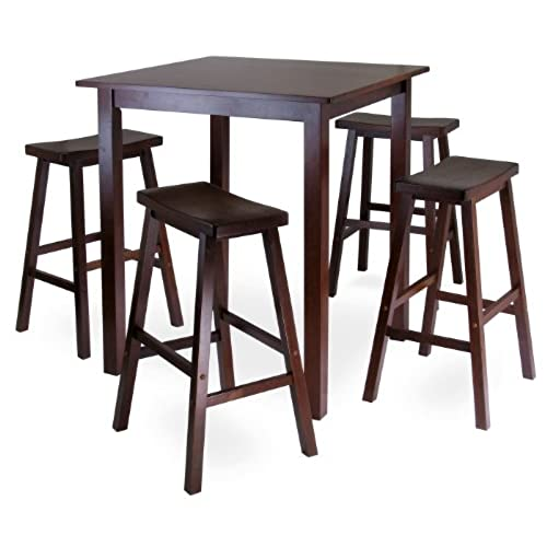 Winsomes Parkland 5 Piece Square High Pub Table Set In Antique Walnut Finish