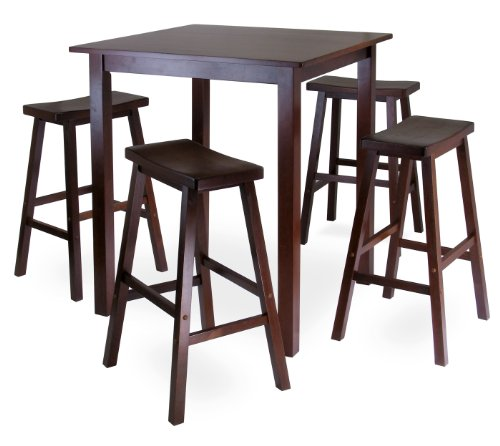 Seat Square Winsome (Winsome's Parkland 5-Piece Square High/Pub Table Set in Antique Walnut Finish)