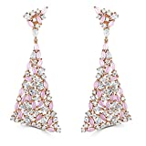 Rose Gold Plated Sterling Silver Cubic Zirconia Dangle Triangle Earrings
