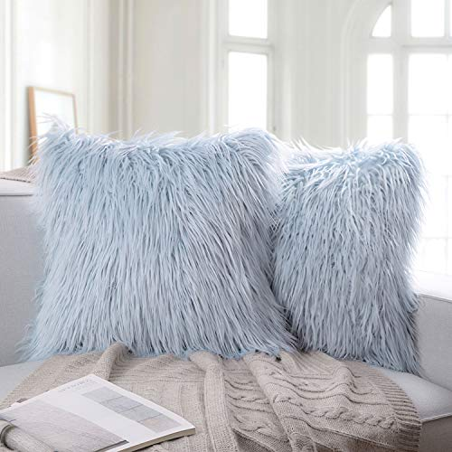 Ashler Pack of 2 Decorative Luxury Style Light Blue Faux Fur Throw Pillow Case Cushion Cover 18 x 18 Inches 45 x 45 cm (Fur Blue Material)