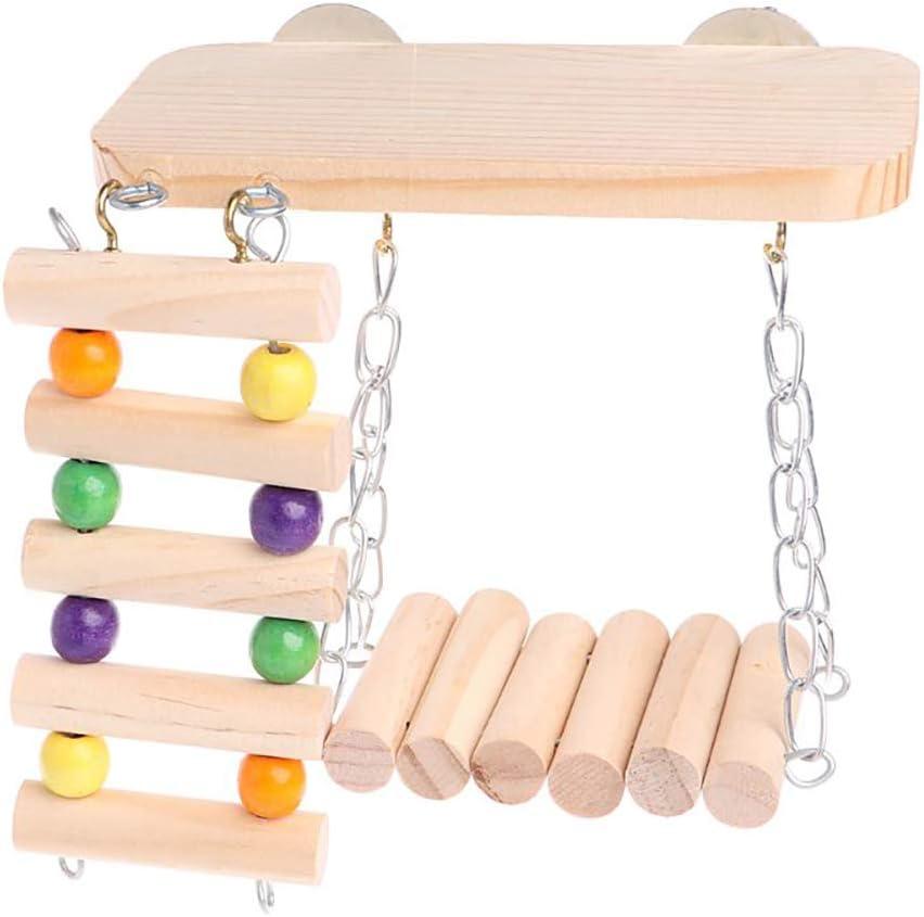 WAZA Juego de 3PCS Juguetes de Hámster Colgable de Madera Natural Columpio Escalera Plataforma de Jaula Juguete de Mascota Juguete Masticable Juguete Molar