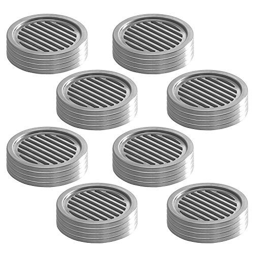 InterDesign Forma Coasters (Set of 32), Brushed Stainless Steel/Black