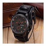 Generic Curren Men Date Stainless Steel Leather Analog Quartz Sport Wrist Watch Black