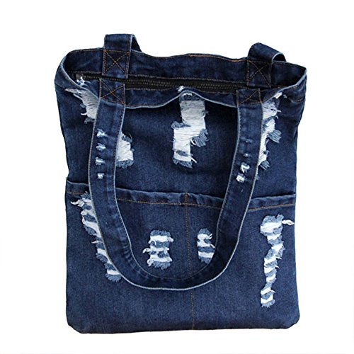 Manka Vesa Women Canvas Bag Denim Tote Shoulder Shopping Bag Handbag Pockets Navy blue