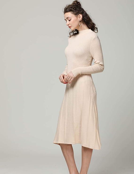 FINCATI Knitted Dress Women Cashmere Blending Soft Elegant Vertical Striped Knee-Length Stocks Clear (S, C-Beige)