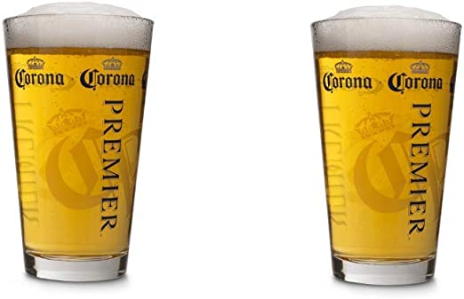Amazon Com Corona Premier 16 Ounce Pint Glass Set Of 2 Beer Glasses