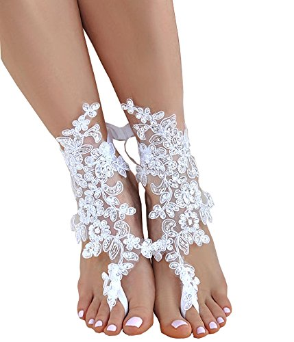 SlenyuBridal Lace Anklets Barefoot Sandals Beach Wedding Bridal Anklet Prom Party Bellydance Accessories (White 12)