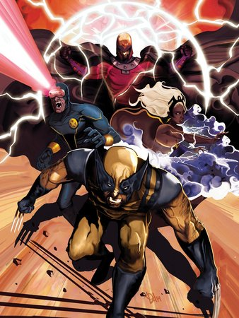 Origins of Marvel Comics: X-Men No.1 Cover: Wolverine, Storm, Cyclops, and Magneto Running Premium Poster Print by Del Mundo Mike, 12x16