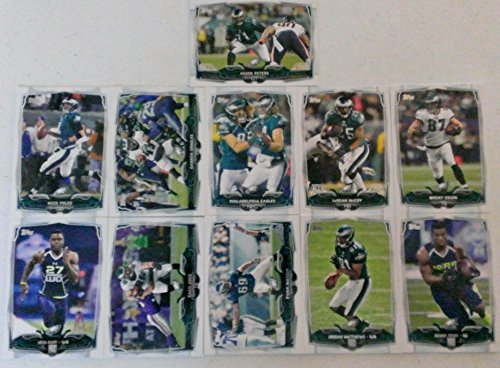 2014 Topps Football Philadelphia Eagles Team Set In a Protective Case - 11 cards including Jordan Matthews RC, Josh Huff RC, Henry Josey RC, Zach Ertz, Nick Foles, Darren Sproles, Evan Mathis, LeSean McCoy, Jason Peters, Brent Celek, and a Team Leaders Card.