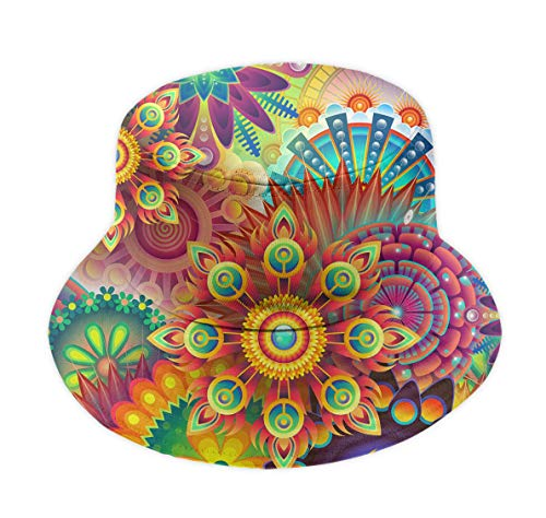 Men's Women Wide Brim Fisherman Bucket Caps Sun Cap for Hiking, Psychedelic Trippy Mandala Flower Packable Reversible Boonie Hat Plain Trucker Cap Breathable Moisture Wicking Caps]()
