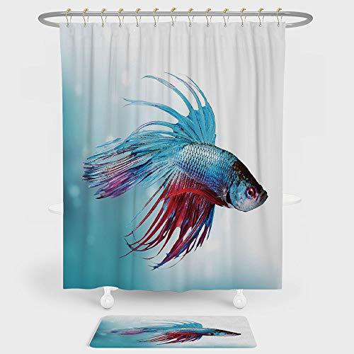 Aquarium Shower Curtain And Floor Mat Combination Set Siamese Fighting