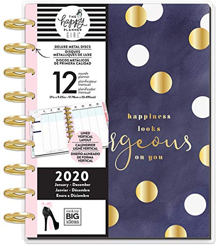 me & my BIG ideas The Happy Planner - Glam Girl Gorgeous Theme - January 2020 to December 2020 - Lined Vertical Layout - Weekly & Monthly Disc-Bound Pages - Scrapbook - Classic Size