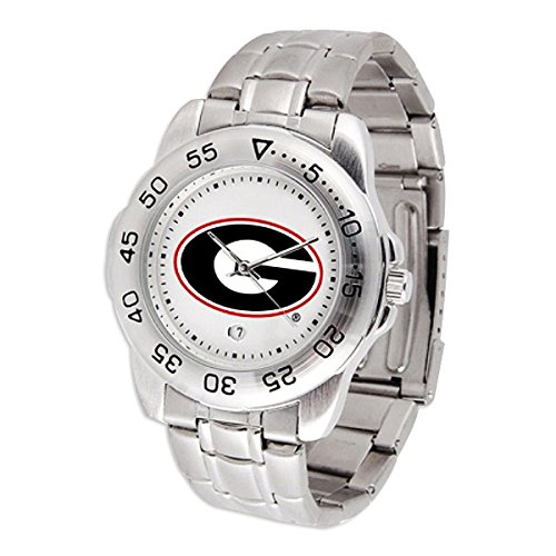 SunTime Georgia Bulldogs Sport Steel Band Men's Watch