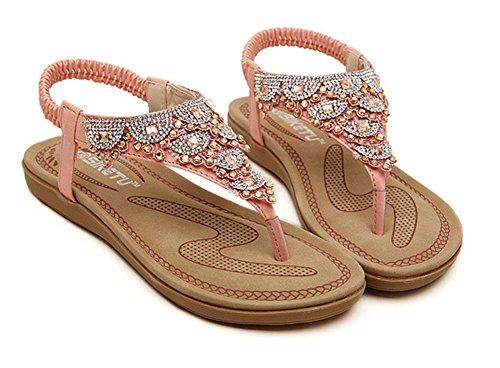 Spiaggia Piatte Estate Strass Pantofole Piatto Sandali Boemia Ragazza Infradito Rosa Minetom Scarpe Nuovo Donna Dolce Tie Toe FzRggq