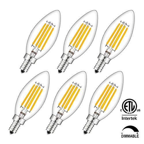 4w White Led (CRLight LED Candelabra Bulb 4W 2700K Warm White 500LM, 40W Equivalent E12 Base Dimmable LED Candle Bulbs, C35 Clear Glass Torpedo Shape Bullet Top, 360 Degrees Beam Angle, Pack of 6)