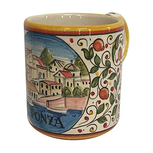 Italian Ceramic Coffee Mug - Italian Cities - Ponza - - Coffee Deruta