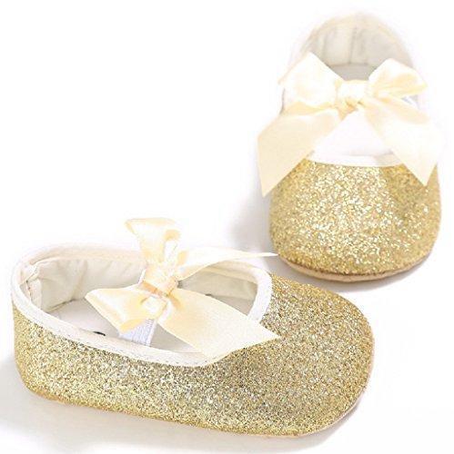 Zapatos de bebé,Auxma Bebé recién nacido antideslizante Soft Bottom Prewalker zapatos de brillo primer partido zapatos para caminar Oro