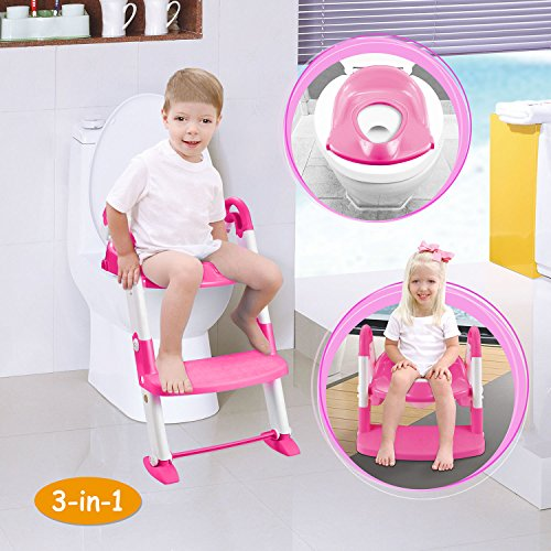GPCT [Portable] 3-In-1 Kids Toddlers Potty Training Seat W/ Step Stool. Sturdy, Comfortable, Safe, Built In Non-Slip Steps W/ Anti-Slip Pads. Excellent Potty Seat Step Trainer- Boys/Girls/Baby- Pink