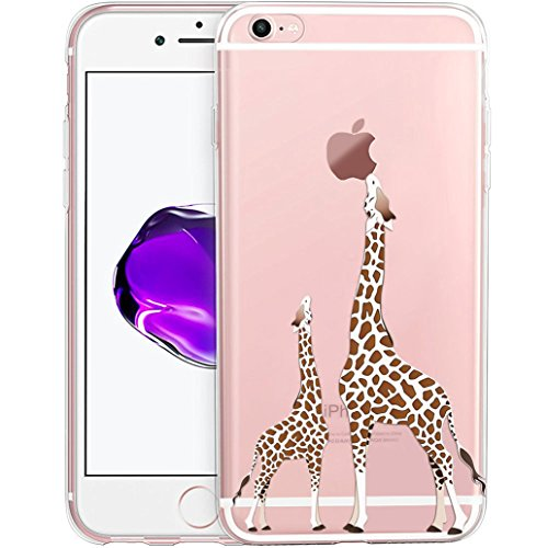 Custodia iPhone 6, Cover iPhone 6S, Yoowei® Due Giraffe Dipinto Cartoon Cristallo Chiaro Trasparente Skin Ultra Sottile Morbido TPU Gel Silicone Case Cover Shock-Absorption Anti-Scratch per iPhone 6 /