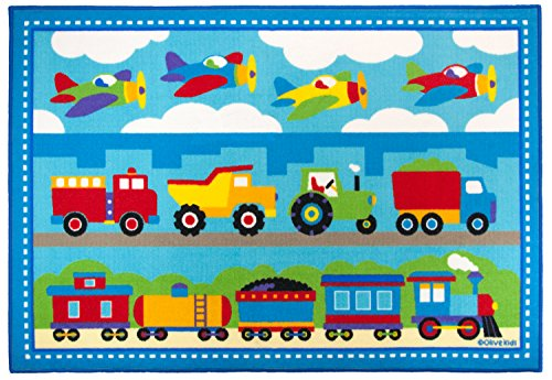 Wildkin 5x7 Foot Rug, Trains Planes & Trucks