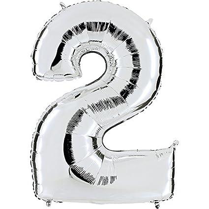 Ballon Zahl 2 in Silber - XXL Riesenzahl 100cm - für Geburtstag Jubiläum & Co - Party Geschenk Dekoration Folienballon Luftba
