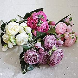 Lotus leaf fragrance 2019 Beautiful Rose Peony Artificial Silk Flowers Small Bouquet Flores Home Party Spring Wedding Decoration Fake Flower,6 2