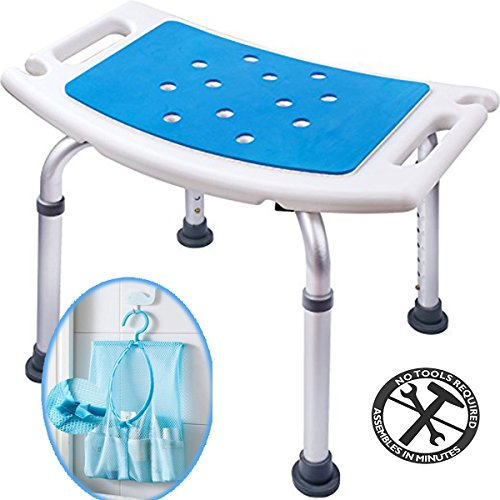 Medokare Shower Stool with Padded Seat - Shower Seat for Seniors with Tote Bag and Handles, Shower Bench Bath Chair for Elderly, Handicap Tub Shower Seats for Adults (White Stool) ()