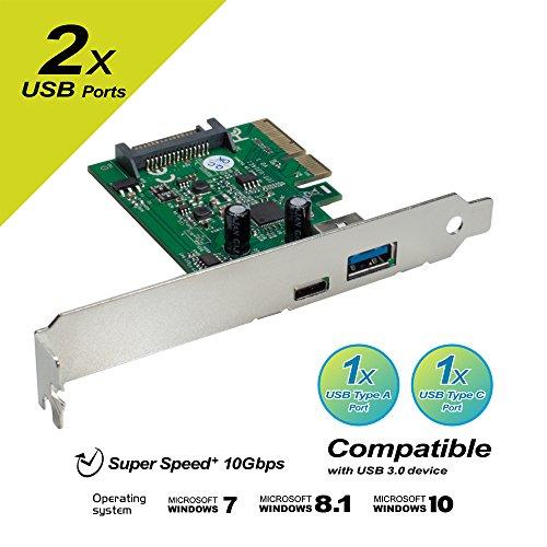Mediasonic 2 Ports USB 3.1 GEN II (10Gbps) PCI Express Card 1 USB Type C and 1 USB Type A Port (HP1-U31AC) (USB 3.1 A + C)