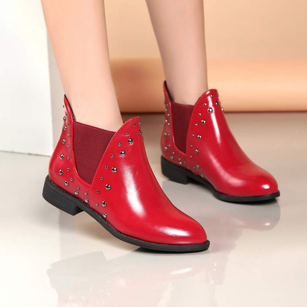 Boots For Women, Clearance Sale !! Farjing Casual Rivets Shoes Keep Warm Boot Leather Flat Ankle Boots Martin Boots(US:7,Red) by Farjing (Image #4)