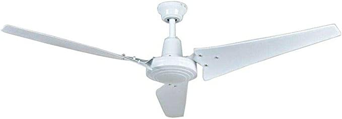 60 inch Brushed Steel Hampton Bay Industrial Large Commercial Ceiling Fan