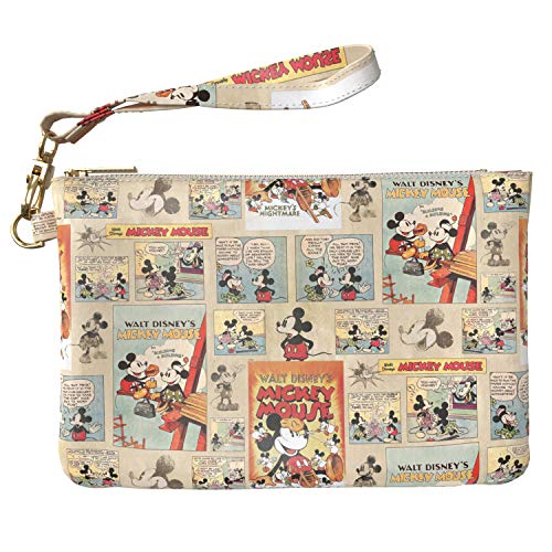 (Lex Altern Makeup Bag 9.5 x 6 inch Mickey Mouse Retro Pattern Cute Comics Design Print Purse Pouch Cosmetic Travel PU Leather Case Toiletry Women Zipper Bathroom Wristband Girly Accessories)