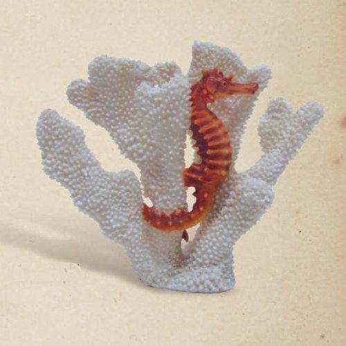 Christmas Tablescape Decor - Seahorse in faux white coral décor sculpture