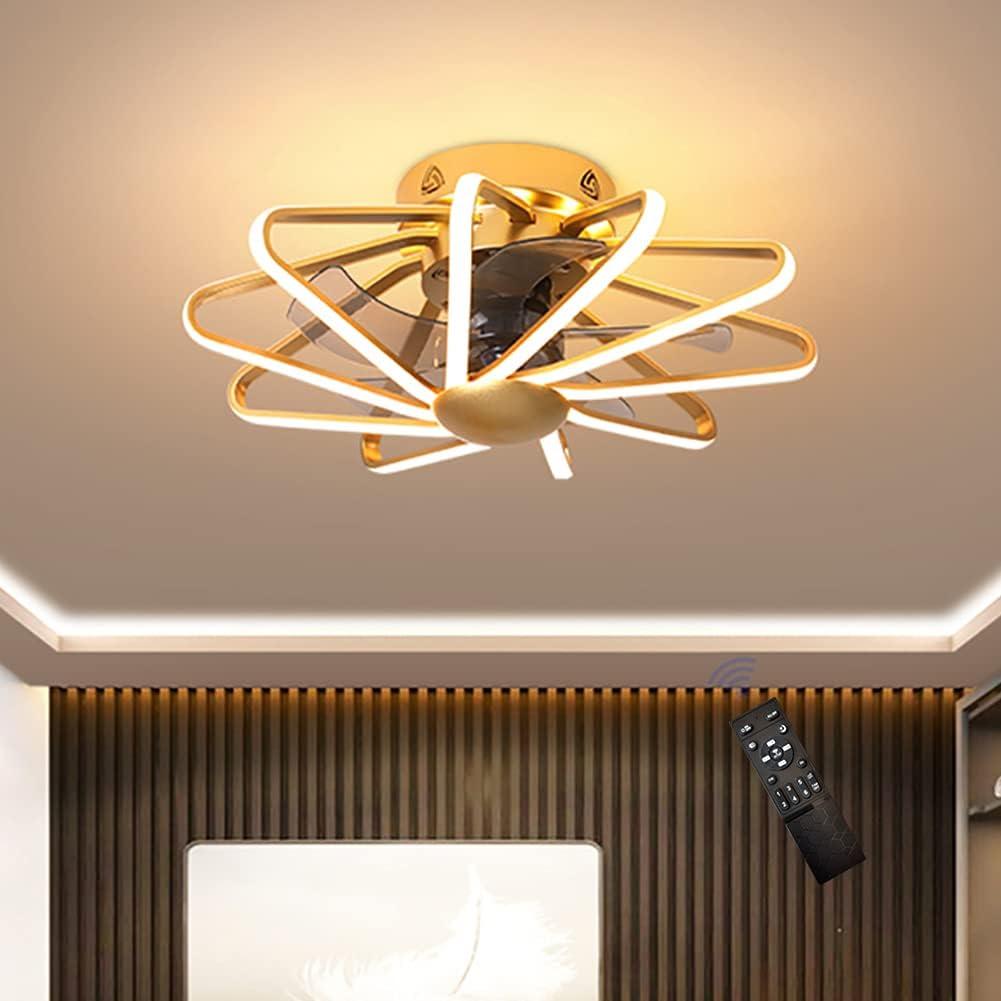 MYJHUIY Ø58cm 160W Ventilador de Techo con Luces LED Atenuación Círculo Redondo Sencillo Lámpara de Ventilador de Techo para Sala de Estar Habitación Oficina Iluminación de Techo