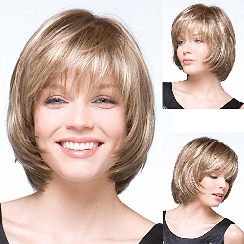 (GNIMEGIL Trendy Straight Hair Highlight Blonde Color Synthetic Hair Replacement Wig Short Bob Wigs for Women Natural Looking Layered)