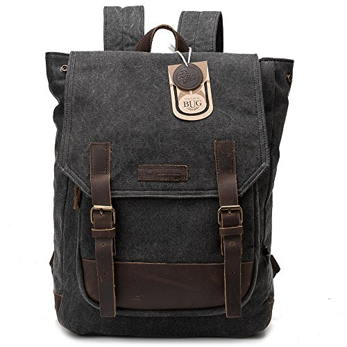 Cross Body Panels (BUG Leather Canvas Backpack, 2 Way to Carry-Grey, Large)