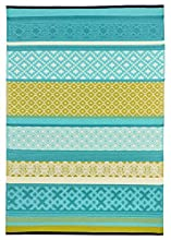 Green Decore Prime Plastic Stain Proof Reversible Fade Resistant Premium Patio Outdoor Rug (Turquoise Blue Green, 6x9)