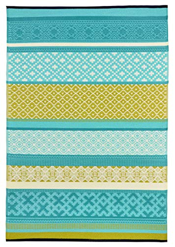 Lightweight Outdoor Reversible Plastic Rug (4x6, Prime Turquoise/Green)