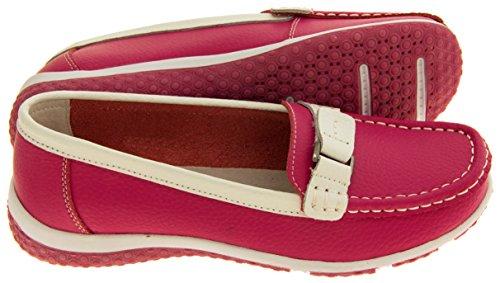 Coolers Mujer Gamuza Zapatos Mocasines Casual Frambuesa