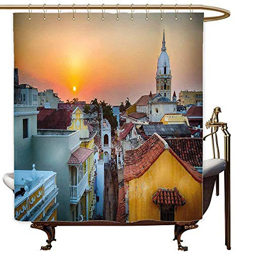 Bathtub Splash Guard Sunset View Over The Rooftops of The Old City Cartagena Cathedral Colombian Coast Picture Metal Build W60x72L Multicolor ()