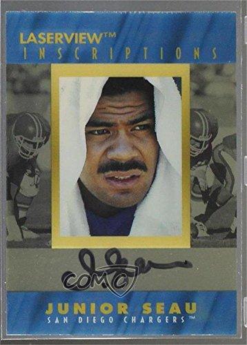 1996 Pinnacle Football (Junior Seau #/3,000 (Football Card) 1996 Pinnacle Laser View - Inscriptions #JUSE)