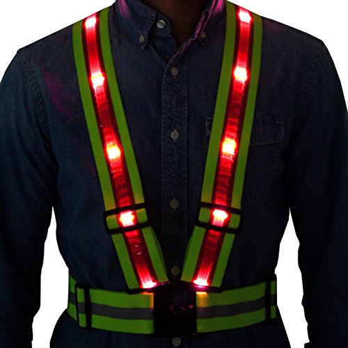 Tuvizo LED Reflective Safety Vest from with Storage Bag. High Visibility Night & Day. Lightweight Hi Vis Gear with Lights for Running Cycling Motorcycle Walking Outdoor Sport Activities in Traffic (Type 4 Piece Body 3)