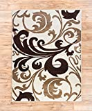 "Melanie Floral Ivory & Beige Modern Geometric Comfy Casual Fleur-de-Lis Hand Carved Area Rug 5x7 ( 5'3"" x 7'3"" ) Easy to Clean Stain Fade Resistant Contemporary Thick Soft Plush Living Dining Room"